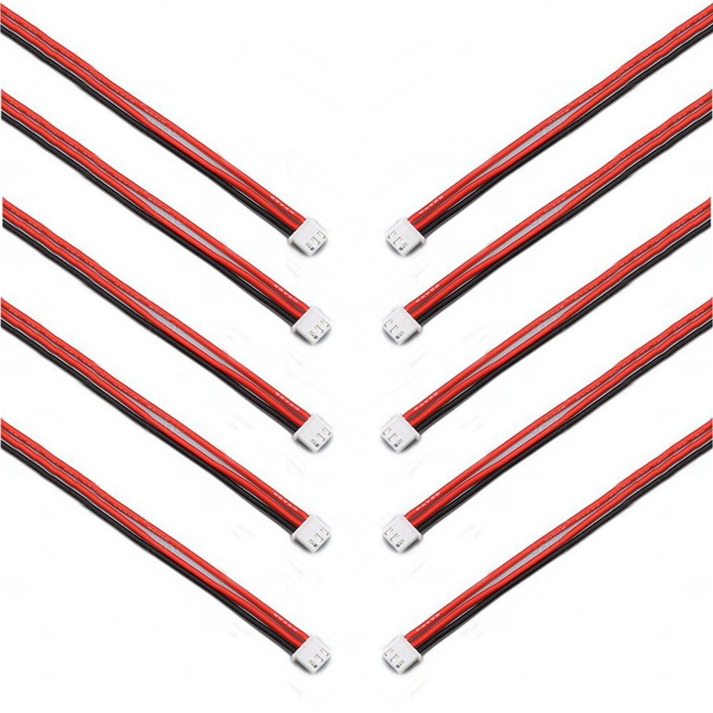 10PCS 2.54XH 22AWG 13CM 1S 2Pin Balance Cable Silicone Wire for Lipo Batteries