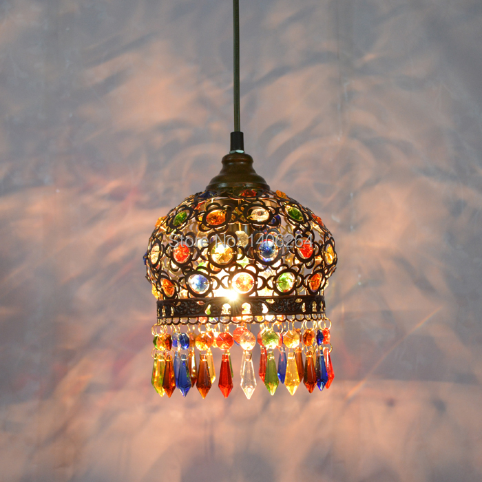 18CM Mediterranean Iron Colourful Crystal LED Decoration Droplight Ceiling Lamp For Cafe Bar Hall Club Store Restaurant Balcony18CM Mediterranean Iron Colourful Crystal LED Decoration Droplight Ceiling Lamp For Cafe Bar Hall Club Store Restaurant Balcony