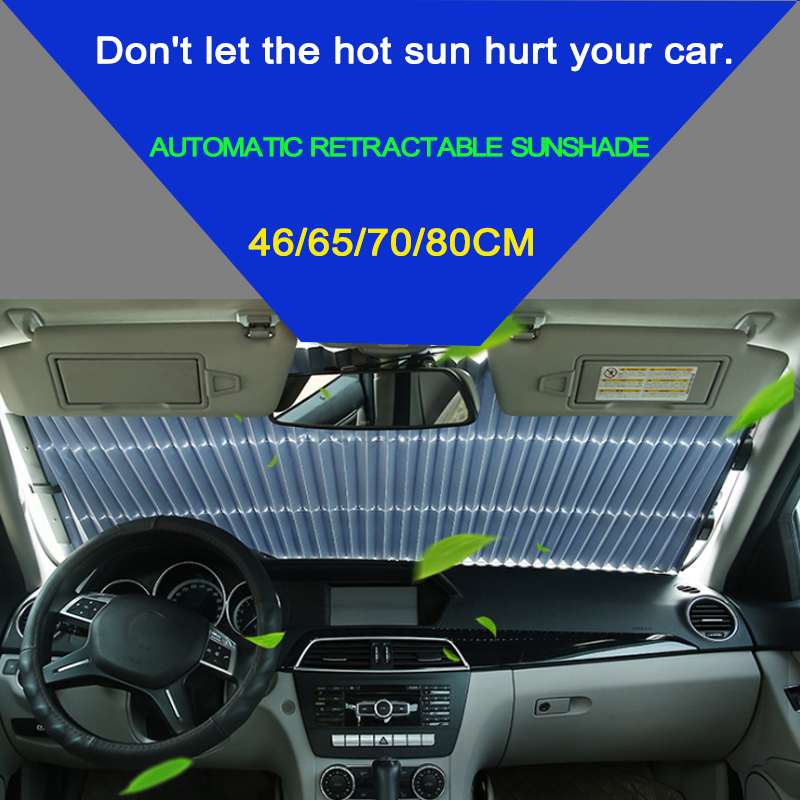 46/65/70 x 155CM Car Retractable windshield sun shade Block sunshade cover Front/Rear window foil Curtain for Solar UV proect modified car trunk cover material curtain separated block for great wall c20r