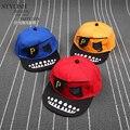 Cheap 2016 nova crianças piratas preto azul amarelo P carta hetero viseira do boné de beisebol chapéu SNAPBACK ajustável