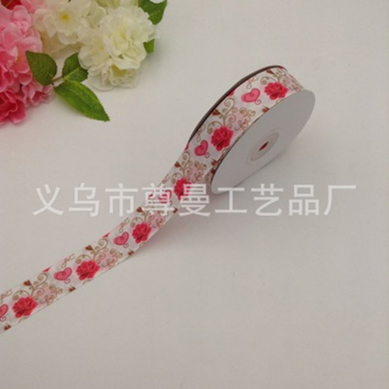 New DIY Ribbon Webbing 2 5CM Wide Digital Printing whorl Belt Clothing Shoes Gift Box Decoration Valentine Day Rose Series in Webbing from Home Garden