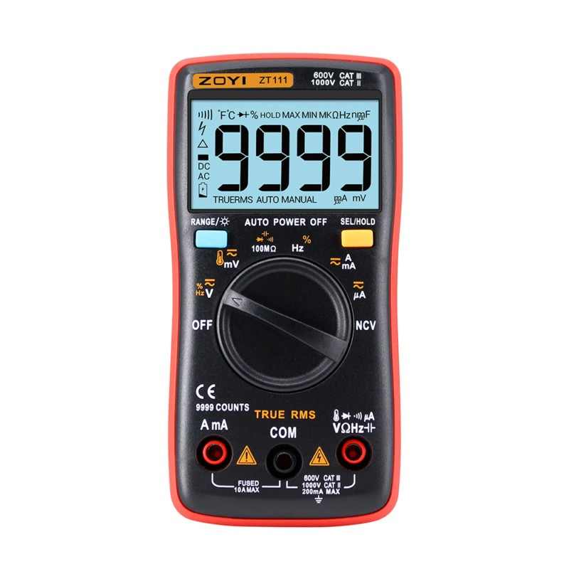 ZOYI ZT111 NCV True-RMS Digital Multimeter Auto Range 9999 Counts Ohm Temperature Backlight AC/DC Voltage Ammeter Current Meter zoyi 6000 counts high precision digital multimeter measuremen autoranging lcd display low voltage ac dc ohm measurement tool