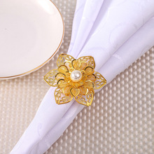 6PCS Western-style flower pearl napkin ring Hotel set table Wedding wedding buckle