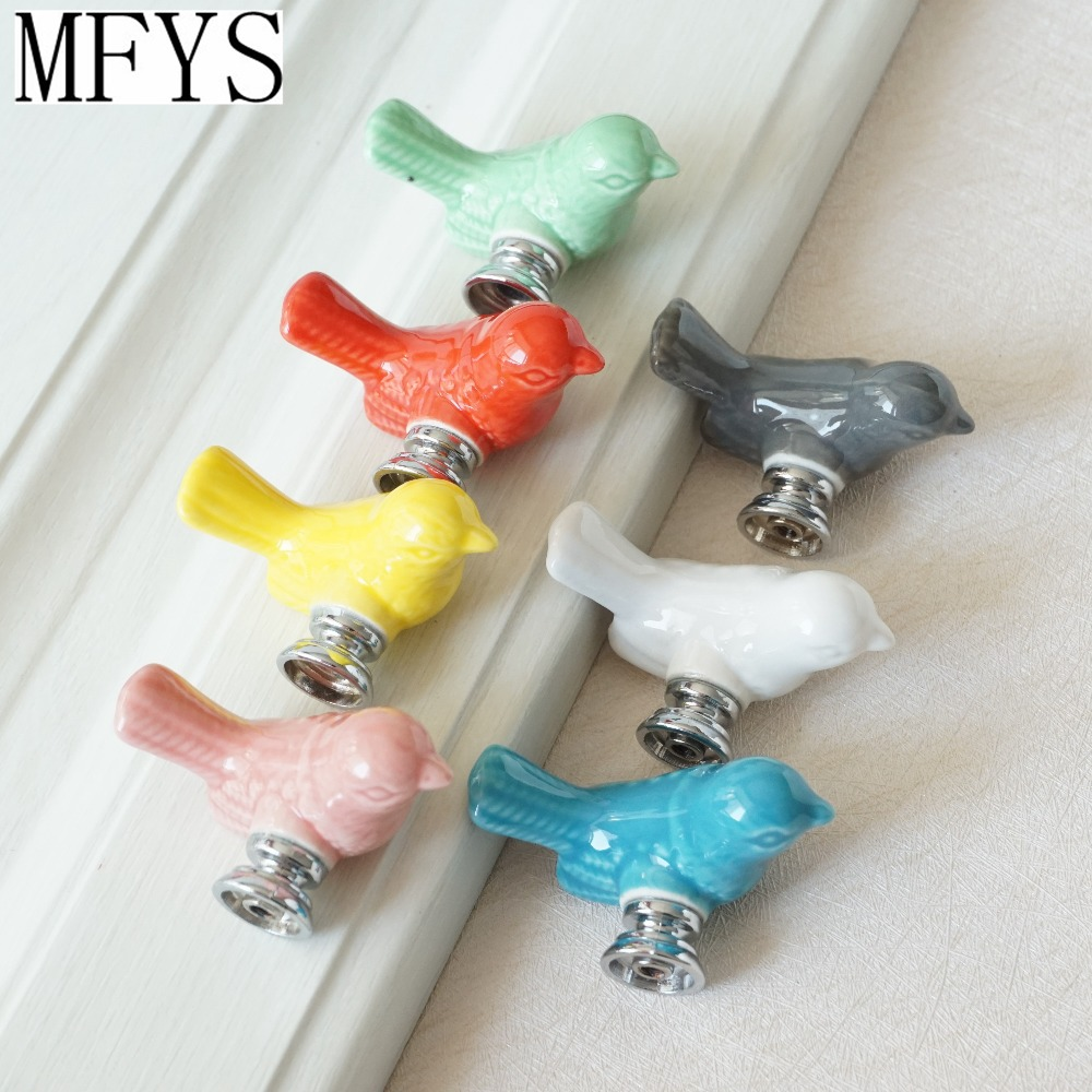 Cute Birds Ceramic Knobs Dresser Knob Drawer Pulls Handles Cupboard Pulls Knob Pink Green Kids Cabinet Knob Furniture Home Decor new cartoon ceramic cabinet drawer knob kids wardrobe handle kitchen furniture flower closet handles children dresser pulls