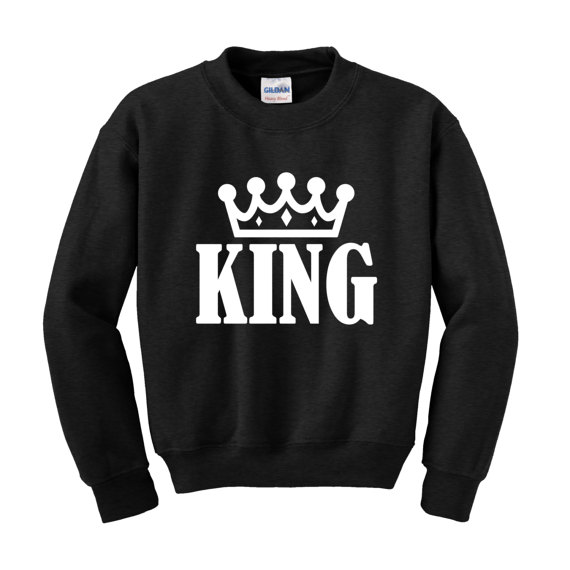 KING Slogan Sweatshirt Funny Cute Valentines Gift Matching Couples Clothing-E521
