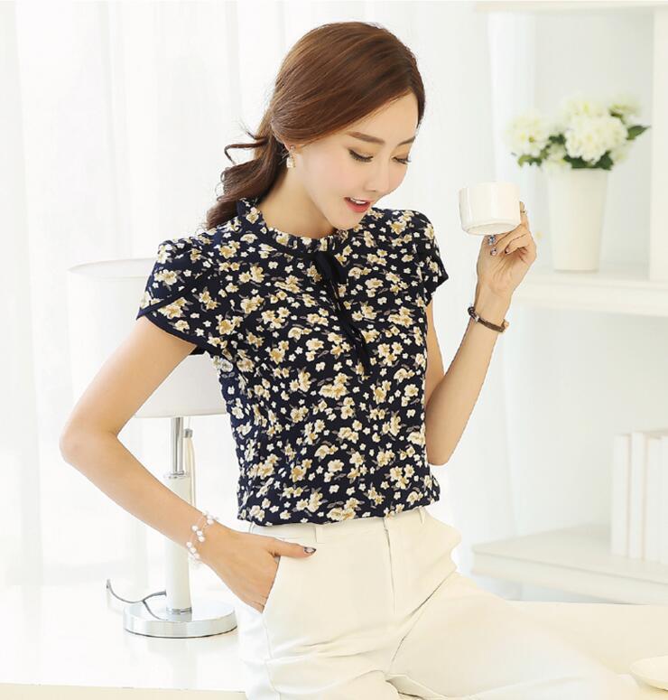 HTB1yPbCQXXXXXXQXVXXq6xXFXXXl - Floral Print Chiffon Blouse Collar Short Sleeve Women