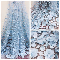Excellent tulle lace cloth with 3D appliques French net lace fabric for party dress HNZ91(5yards/lot)
