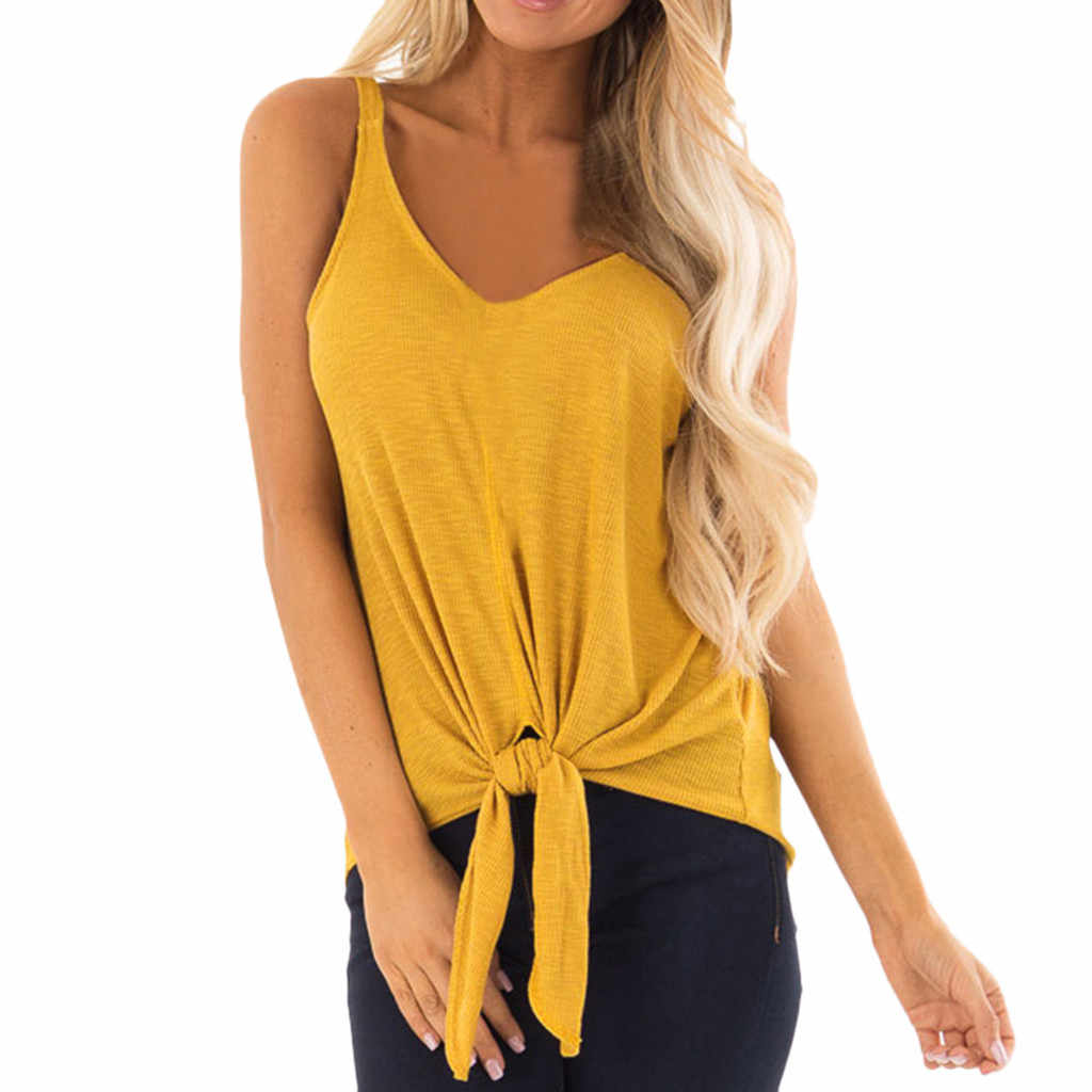 Tank Top Women summer clothes 2019 Sleeveless V Neck Tie Up Ladies Tops Sexy Tops For Women Clubwear chemise femme