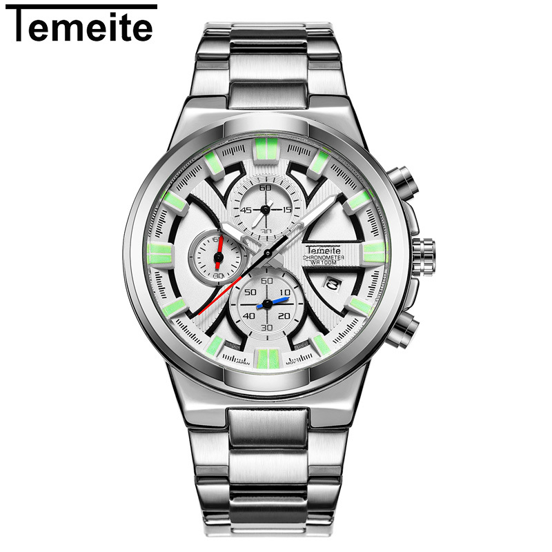 TEMEITE Chronograph Sport Watch Men Relogio Masculino Top Brand Fashion Stainless Steel Quartz Army Military Wrist Watches Clock 2017 fashion stainless steel leather men s military sport analog quartz wrist watch men square casual watches relogio masculino