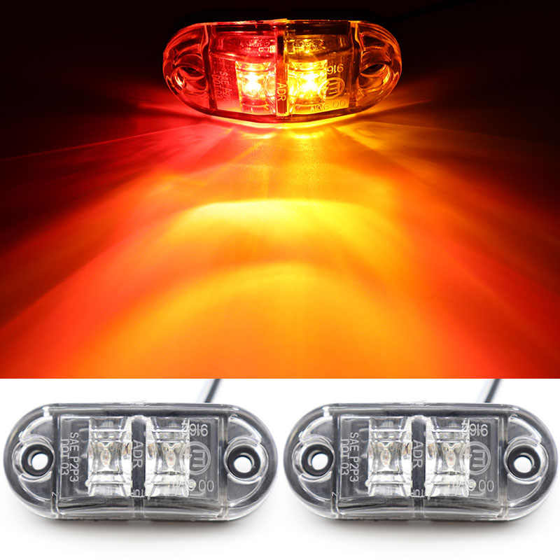 2Pcs 12V 24V LED Side Marker Light Car External Light Warning Tail Light Auto Trailer Truck Lorry Lamp Red & Amber double color