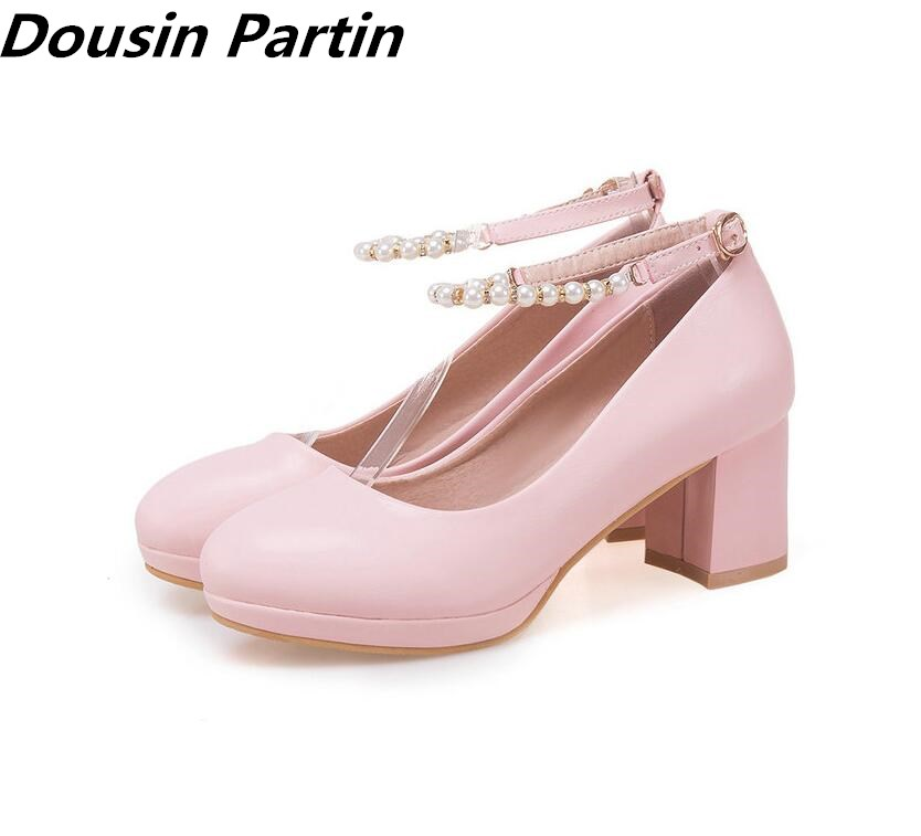 Dousin Partin Fashion Women Pumps Square High Heel Round Toe Fashion Casual Women Shoes Pu Leather