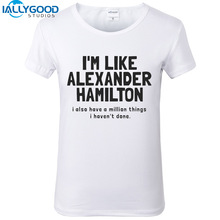 Fashion Letter Printed Hamilton t shirts Women My thoughts have been replaced by Hamilton lyrics Women White Tops S618