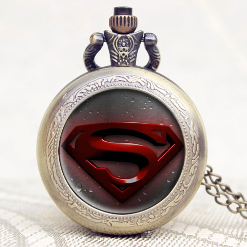 Old Antique Superman Design High Quality Bronze Quartz Pocket Watch With Necklace Chain For Gift high quality bronze the soviet union flag theme pocket watch with necklace chain gift for men women