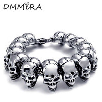 High Quatity Fashion Cool Men S All Skeleton Chain Bracelet Silver Stainless Steel Many Skull Chain