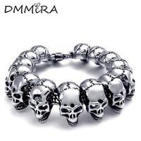 High Quatity Fashion Cool Men S All Skeleton Chain Bracelet Silver Stainless Steel Many Skull Chain