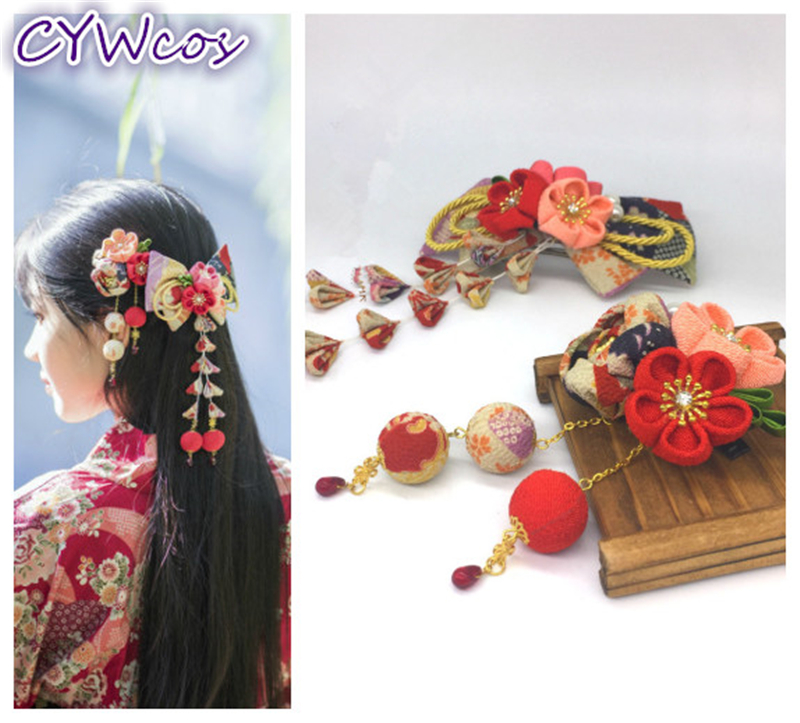 Handmade Classic Japanese Stlye Flower Sakura Headwear Clip Kimono Haripin Hair Accessories Yukata Tassels Headdress