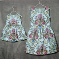 Brand A-line floral embroidary pleated Sleeveless skirts women girl sundresses family matching clothes mother and daughter dress