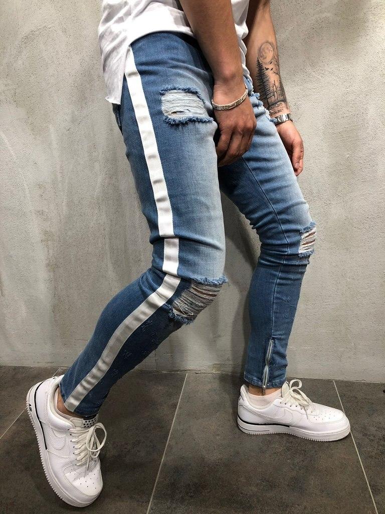 Diaooaid 2018 New Knee Hole Side Zipper Slim Distressed