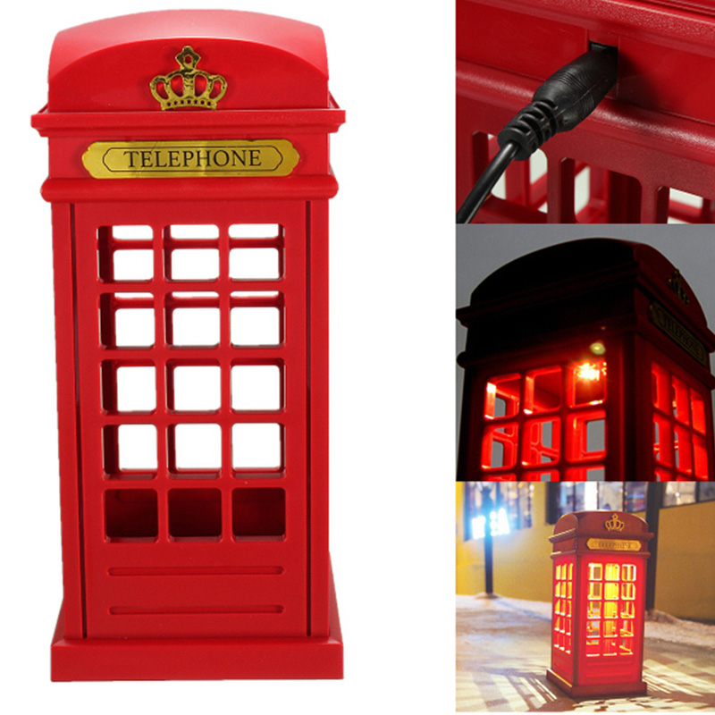 LED Night Light Retro London Telephone Booth USB Charging Battery Dual-Use LED Bedside Table Lamp Energy Saving