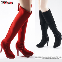 цены 2Pairs/Set TopToys 1/6 Scale Shoes Clothing accessories High-heel Hollow Boots VCF2003 Red+2005 Black Fit 12
