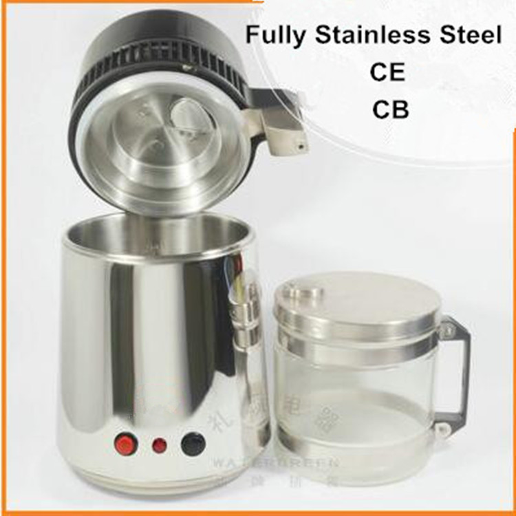 CE Certificate Stainless Steel Water distiller portable water purifier with glass jar steel body for home & laboratory hospital цена