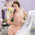 Realwill New Pleated Pink Bra Set Inspired by a Lily Decorated with Beautiful Floral Lace Ladies' Romantic Underwear