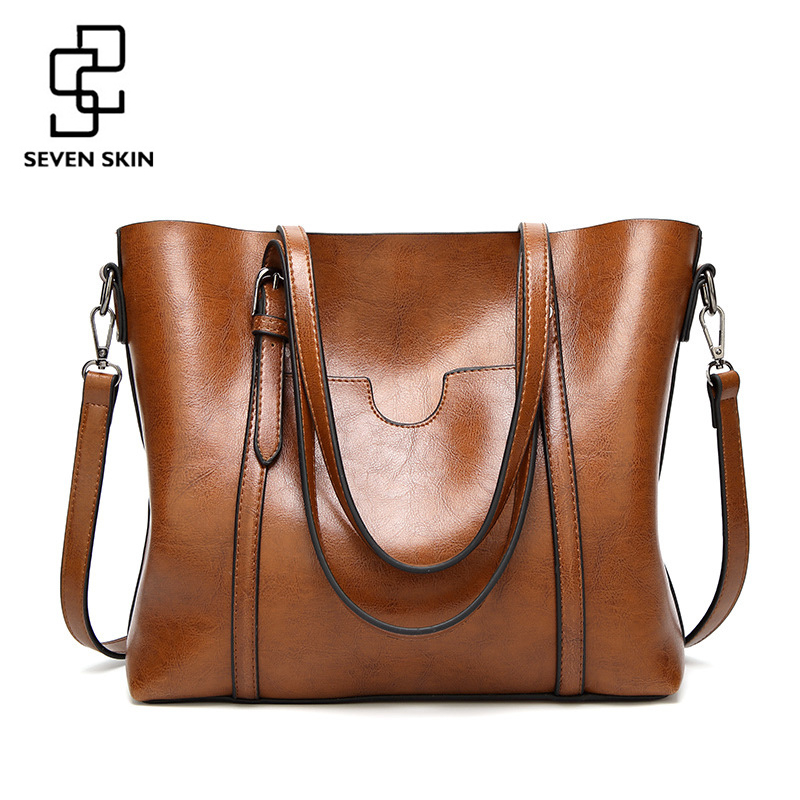 SEVEN SKIN 2017 New Fashion Women Solid Leather Handbags Famous Brands Messenger Bags Women Large Totes Bag Vintage Shoulder Bag