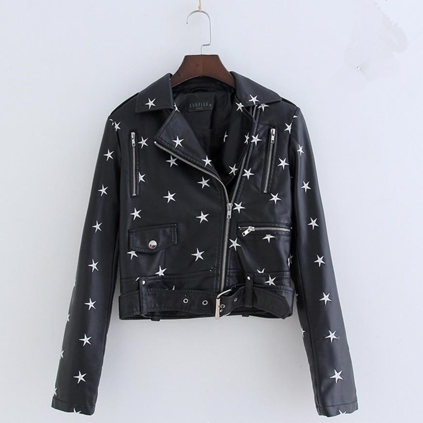 Fashion women star Embroidery short Faux   Leather   PU jackets 2019 spring autumn new moto punk long sleeve female coats gx1040