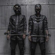 Темные куртки в стиле хип-хоп, Мужская Неопреновая куртка, сетчатая одежда с капюшоном, удлиненная уличная модная толстовка с капюшоном, мужская куртка со съемным дном черного цвета