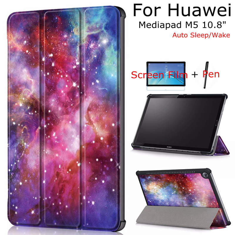 iBuyiWin Case for Huawei Mediapad M5 10.8 CMR-W09/AL09 Tablet, Smart PU Leather Funda Cover With Auto Sleep/Wake Up+Film+Pen silicone with bracket flat case for huawei mediapad m5 8 4 inch