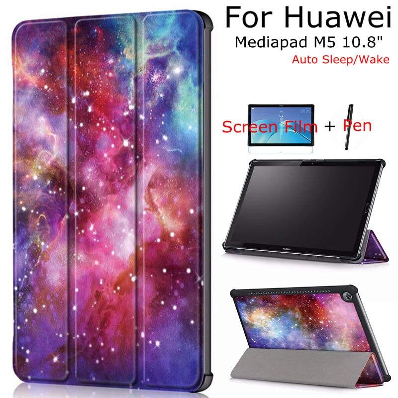 iBuyiWin Case for Huawei Mediapad M5 10.8 CMR-W09/AL09 Tablet, Smart PU Leather Funda Cover With Auto Sleep/Wake Up+Film+Pen