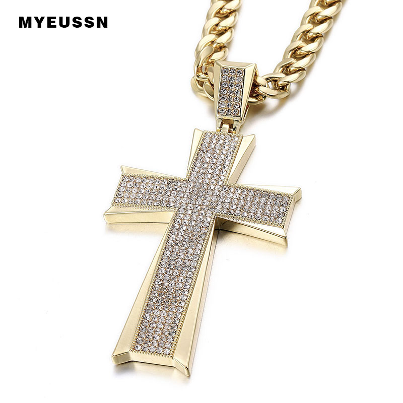 Hip Hop Jewelry Large Cross Pendant Iced Out Shining Crystal Fashion Bling Bling Cross Men Chain Necklace Necklace Jewelry