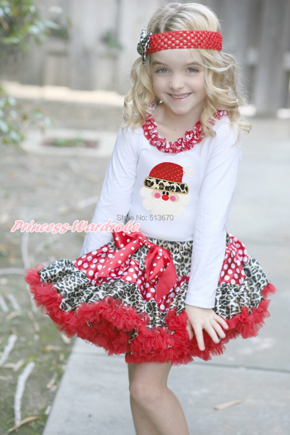 XMAS White L/S Top Leopard Santa Claus Minnie Lacing Christmas Minnie Leopard White Dot Pettiskirt 1-8Y MAMG1237 my 1st christmas santa claus white top xmas dot waist girls pettiskirt set 1 8y