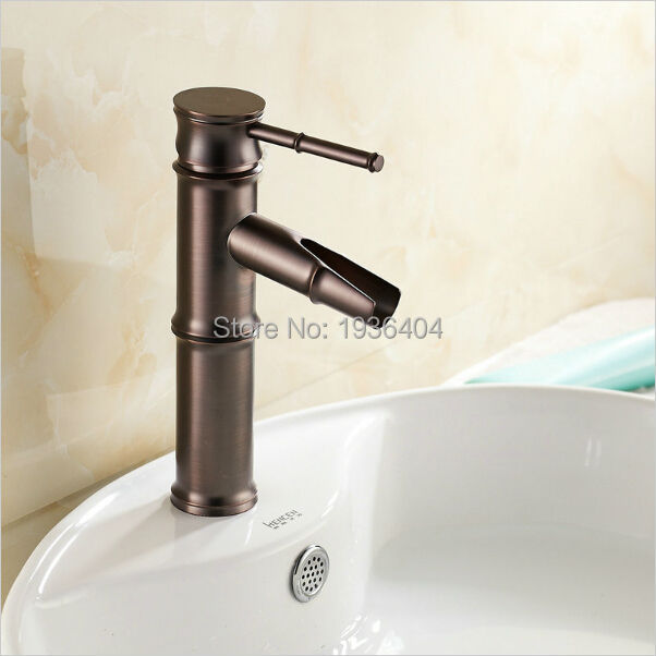 High Level Oil Rubber Bronze Finish Bamboo Shape Basin