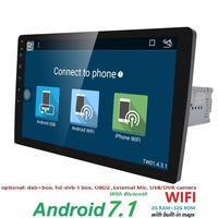 QuadCore 1Din Android7 1 Car NO DVD Radio Multimedia Player 1024 600 Universal GPS Navigation Autoradio