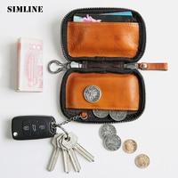 SIMLINE Genuine Leather Key Wallet Men Women Car Key Wallets Card Holder Holders Case Coin Purse Organizer Housekeeper For Male