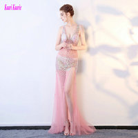Unique Pink Transparent Evening Dresses 2017 Sexy Party Evening Gowns Long V Neck Tulle Crystal Formal