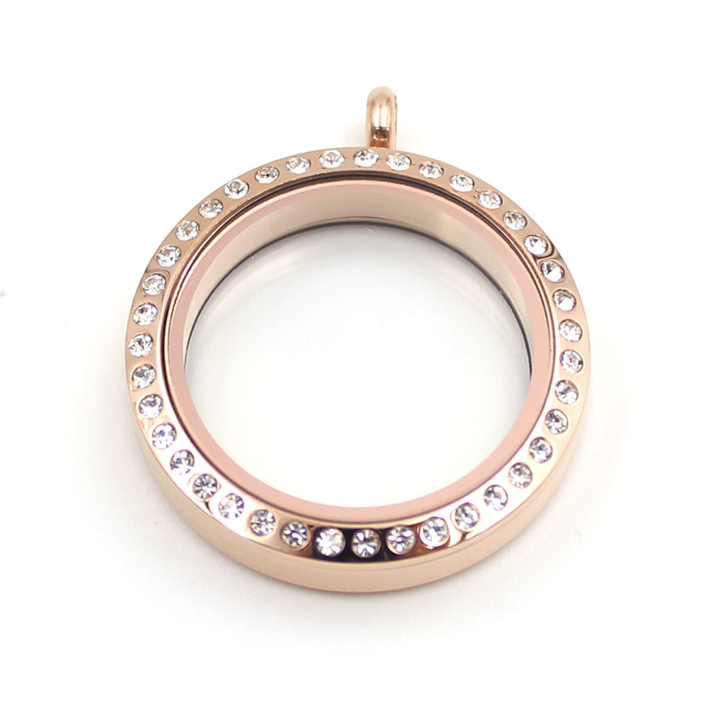 Rose Gold Crystal Magnetic Floating Locket 316L Stainless Steel Floating Charms Memory Glass Locket Pendant in Pendants from Jewelry Accessories