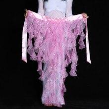 6 Color Paillette Tassel Belly Dance Hip Scarf Wrap Skirt for Women Bellydance Waist Chain Indian Dance Waistband 89