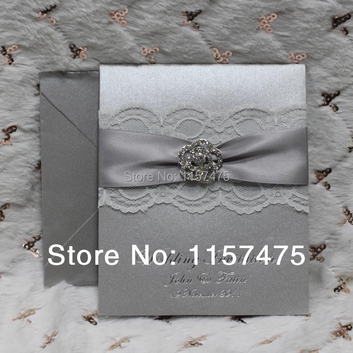 Hi1004 Por Silver Wedding Invitation Cards With Lace Ribbon Buckle In Invitations From Home Garden On Aliexpress Alibaba Group