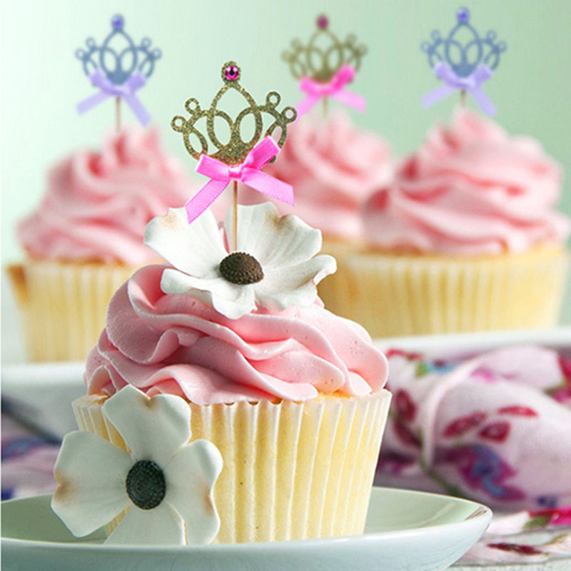 10pcs/lot 1st Birthday Baby Party Toys Hat Baby Toys 0-12 Months Gold/Silver Cupcake Toppers Princess Crown Hat Toys For Kids