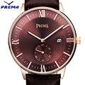 PREMA Fashion Simple Top Luxury brand Watches men Leather strap band man Japan Quartz-watch thin Dial Clock 2016 Date Calendar