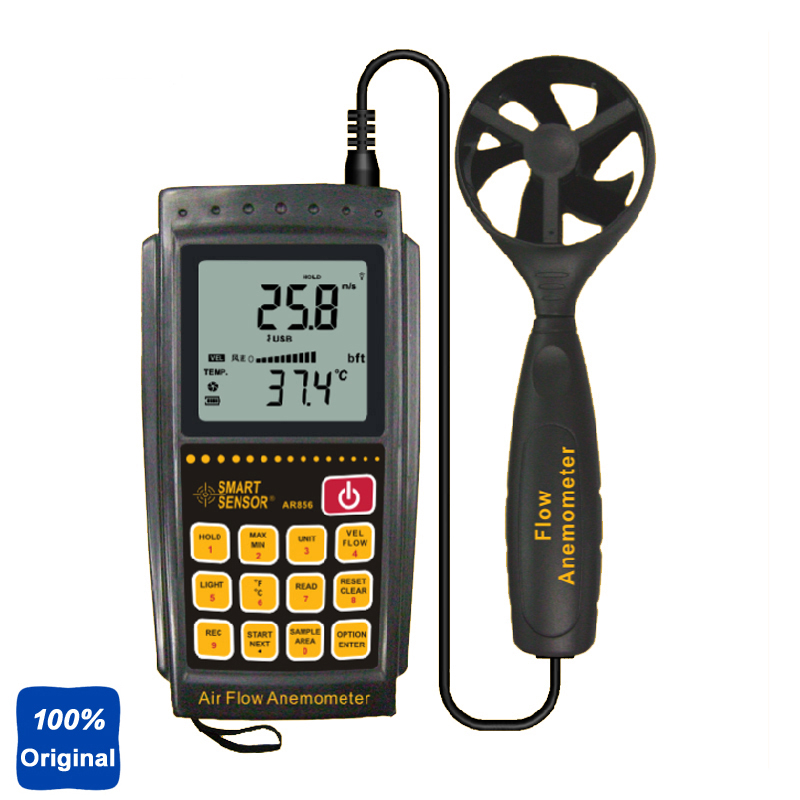 цена на 100% Original AR856 Air Flow Meter Wind Speed Tester Anemometer with USB