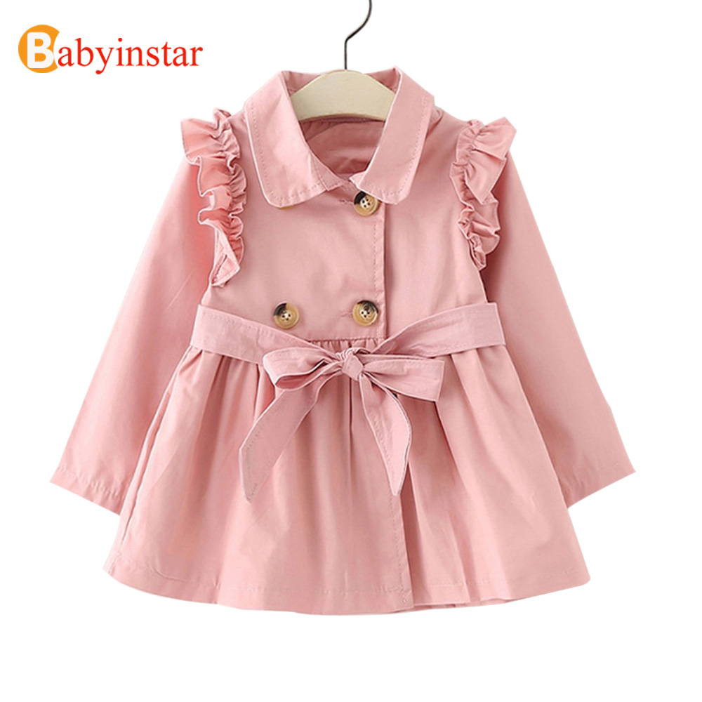 Babyinstar New Spring Girls clothe Double Breasted   Trench   Outwear Fashion Jacket Children Clothing Kids female Outfit girls Coat