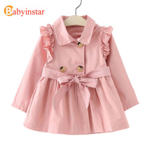 Babyinstar New Spring Girls clothe Double Breasted Trench Outwear Fashion Jacket