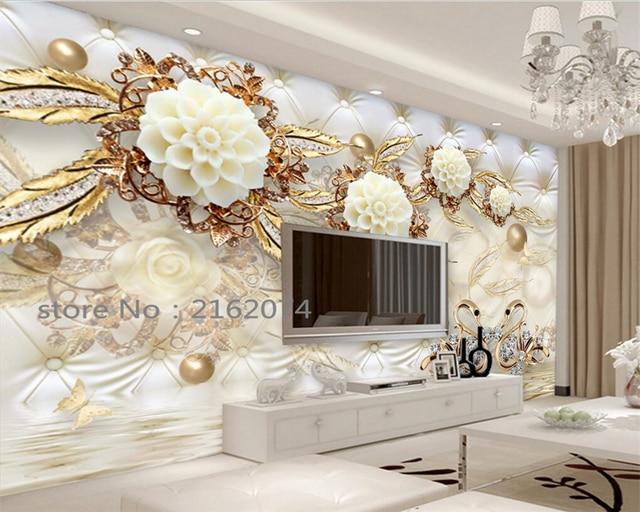 Beibehang 3d luxus gold weiß blumen weiche tasche kugel schmuck foto ...