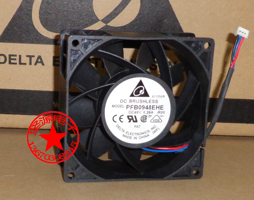 Free Shipping For DELTA  PFB0948EHE, -R00 DC 48V 0.26A, 3-wire 3-pin 70mm 90x90x38mm Server Square cooling fan free shipping for delta pfb0848dhe ck2a dc 48v 1 00a 80x80x38mm 4 wire server square cooling fan