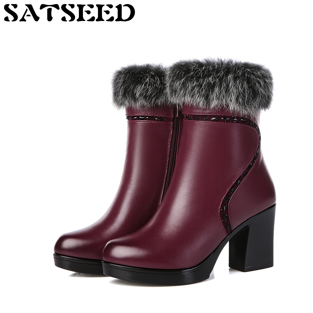 2017 Women Winter Boots Boots Fur Genuine Leather Ankle Boots Shoes Dress High Square Heel Round Toe Zipper Fashion woman platform square high heel buckle ankle boots fashion round toe side zipper dress winter boots black brown gray white