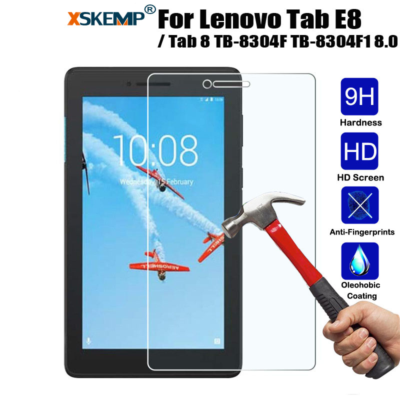9H+ Tempered Glass Screen Protector For Lenovo Tab E8 / Tab 8 TB-8304F TB-8304F1 8.0 In Explosion Proof Protective Film Coverage