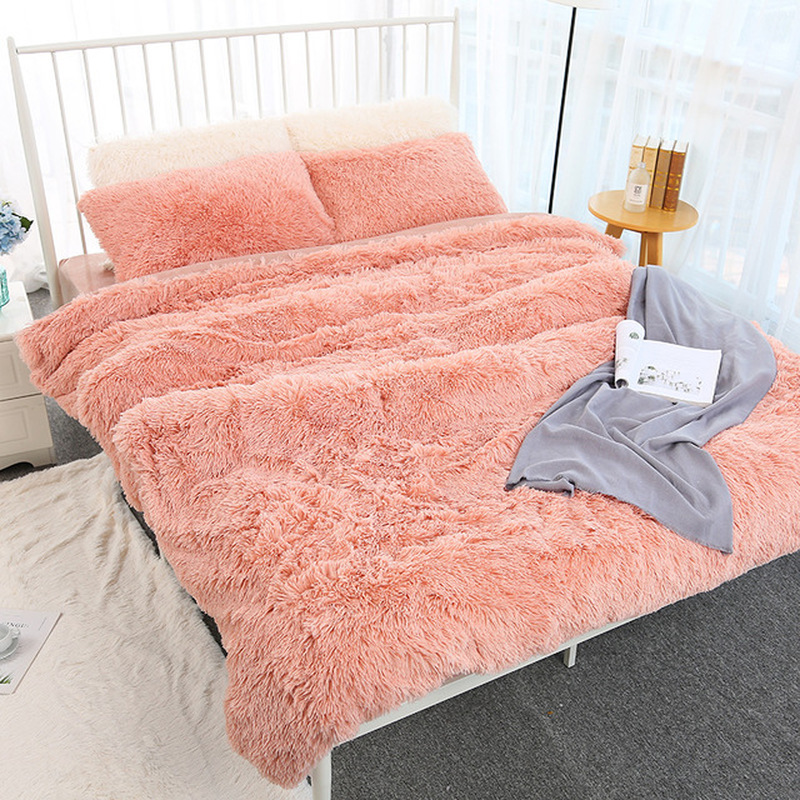160*200cm Elegant Throw Blanket For Bed Sofa Bedspread Long Shaggy Soft Warm Bedding Sheet Air Conditioning Blanket